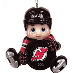 New Jersey Devils Lil' Player Personalized Hockey Ornament