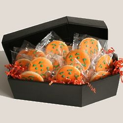 Jack O' Lantern Cookies in a Mini Coffin