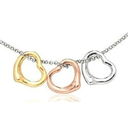 Triple Floating Heart Necklace in Tri Color Sterling Silver