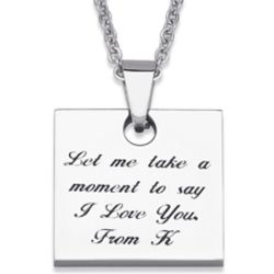 Stainless Steel Engraved Love Notes Square Pendant