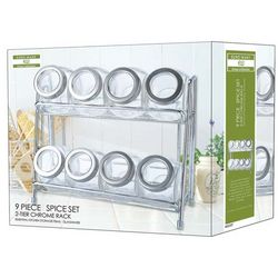 Glass Spice Jar Set with Chrome Rack