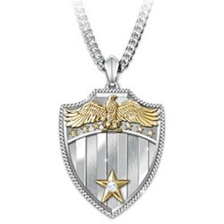 Stainless Steel and Diamond Shield Pendant Necklace