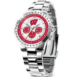 Commemorative Wisconsin Badgers Stainless Steel Chronograph Watch