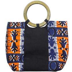 Segmented Splendor Cotton Print with Wood Handle Handbag