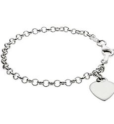 Kid's Personalized Sterling Silver Heart Tag Bracelet