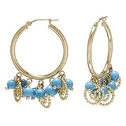 14k Gold Turquoise Bead Hoop Earrings