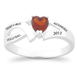 Ladies Sterling Silver Split Band Birthstone Heart Class Ring
