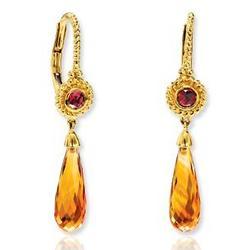 14k Yellow Gold Garnet Citrine Drop Earrings