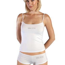 Bride Camisole Set with Clear Crystals