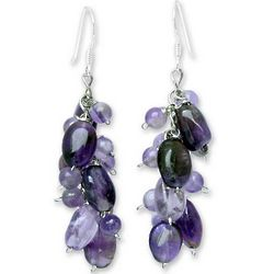 Violet Clouds Amethyst Cluster Earrings