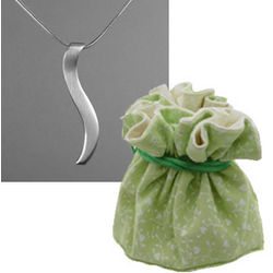 2nd Anniversary Silver Ogee Necklace in Cotton Pouch