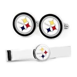 Pittsburgh Steelers Cufflinks and Tie Bar Set