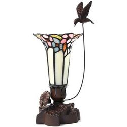 Light of Remembrance Pink Tiffany Style Lamp with Hummingbird