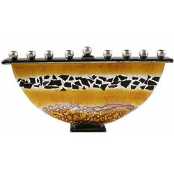 Topaz and Black Glass Flakes Menorah