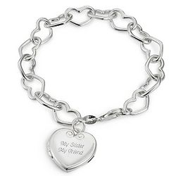 Sterling Open Heart Locket Bracelet