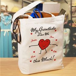 Loves Me This Much Personalized Canvas Valentine Tote