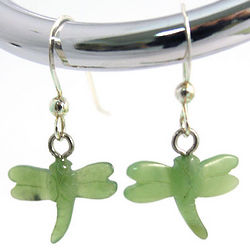 Hand Carved Nephrite Jade Dragonfly Earrings
