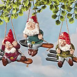 Whimsical Gnomes on Garden Tool Swings