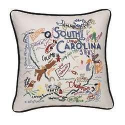 Hand Embroidered South Carolina State Pillow