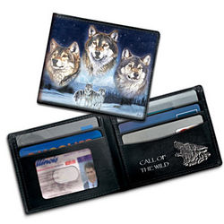 Leather Call of the Wild Wolf Art Wallet