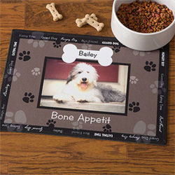 Throw Me a Bone Personalized Dog Bowl Mat