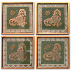 Colonial Jade Painted Glass Coasters