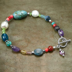 Mixed Gem Evil Eye Bracelet