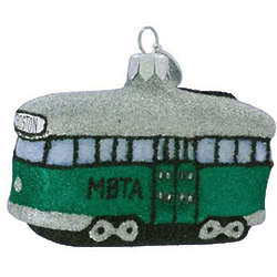 Glittered MBTA Trolley Landmark Ornament