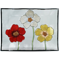 Everyday Painted Poppies Rectangular Glass Platter