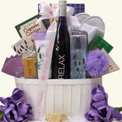 Riesling Wine and Relaxation Birthday Gift Basket