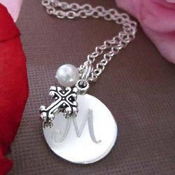 Be Blessed Engraved Keepsake Pearl and Cross Necklace