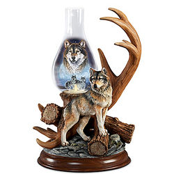 Guardians of the Night Illuminated Wolf Sculpture