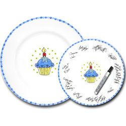 Blue Birthday Cupcake Signature Plate Kit