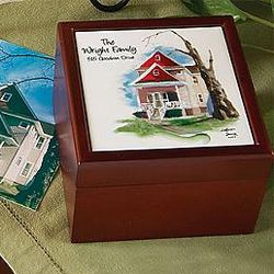Personalized Hand-Painted House on Keepsake Tile Box