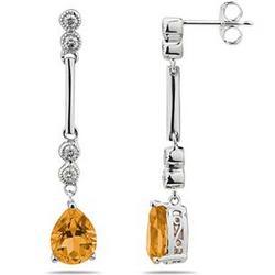 Citrine & Diamond Dangle Earrings in 14K White Gold