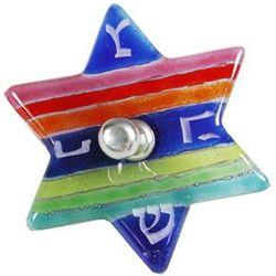Rainbow Fused Glass Jewish Star Dreidel