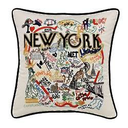Hand Embroidered New York City Pillow