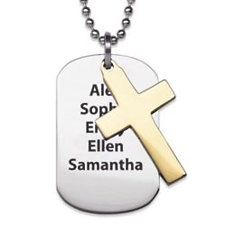 Two-Tone Stainless Steel Double Cross Engraved Necklace