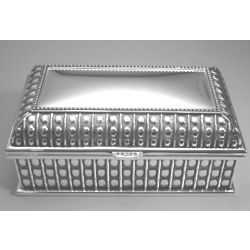Engraved Rectangular Silver Plated Beaded Jewelry Box