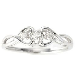 14k White Gold Diamond Heart Promise Ring