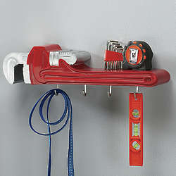 Pipe Wrench 3D Coat Rack and Shelf