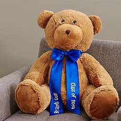 Plush Teddy Bear with Personalized Blue Ribbon
