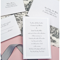 Pearl Border White Wedding Invitation Kit