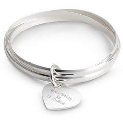 Triple Bangle Heart Bracelet