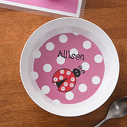 Ladybug Love Girl's Personalized Bowl