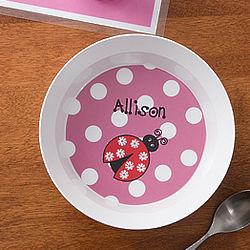 Ladybug Love Girl's Personalized Bowl