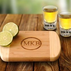 Personalized Bamboo Bar Board with Shot Glasses