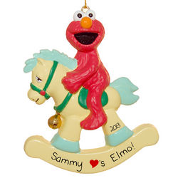 Personalized Elmo on Rocking Horse Christmas Ornament