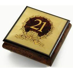 21st Birthday in Gold Wreath Sorrento Inlaid Music Box