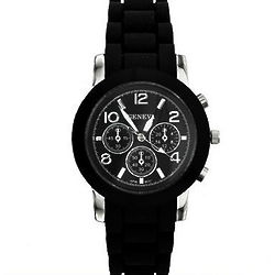 Designer Style Bezel Face Black Jelly Watch